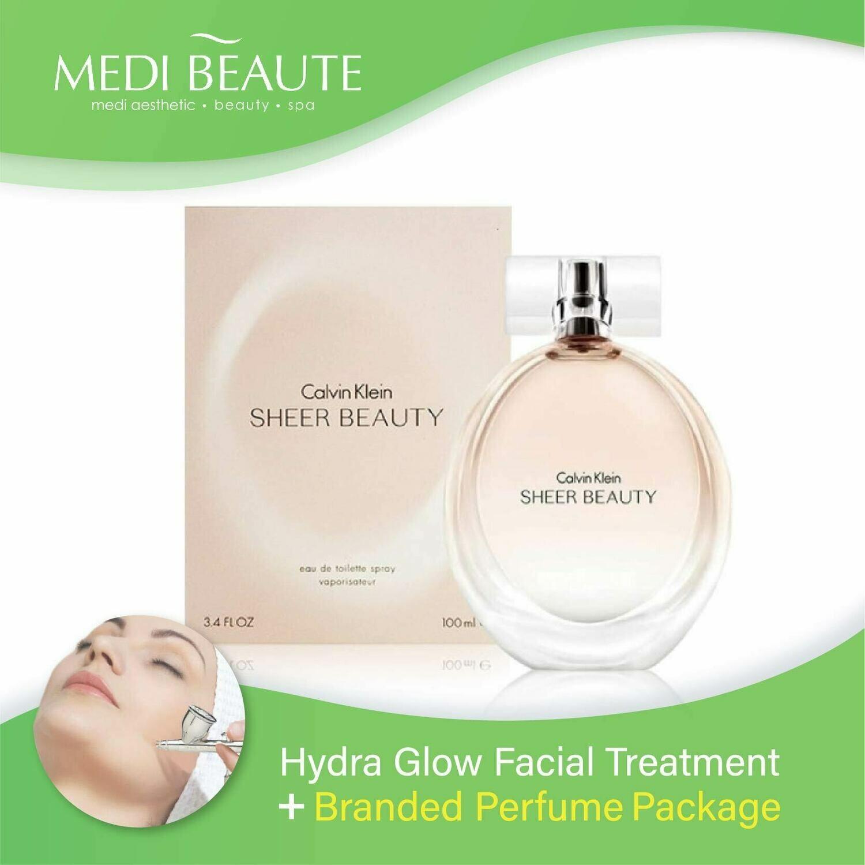 Medi Beaute Hydra Glow Facial + Branded Perfume ( Calvin Klein cK Sheer Beauty Lady EDT 100ml) Package