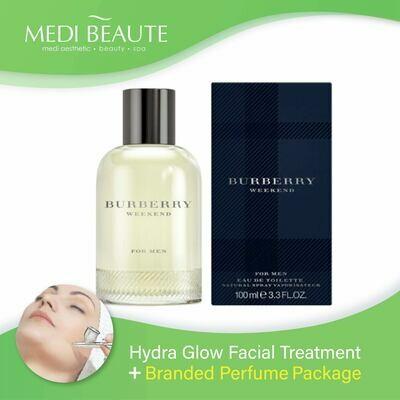Medi Beaute Hydra Glow Facial + Branded Perfume ( Burberry Weekend Men EDT 100ml) Package