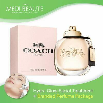 Medi Beaute Hydra Glow Facial + Branded Perfume ( Coach Lady EDP 90ml) Package