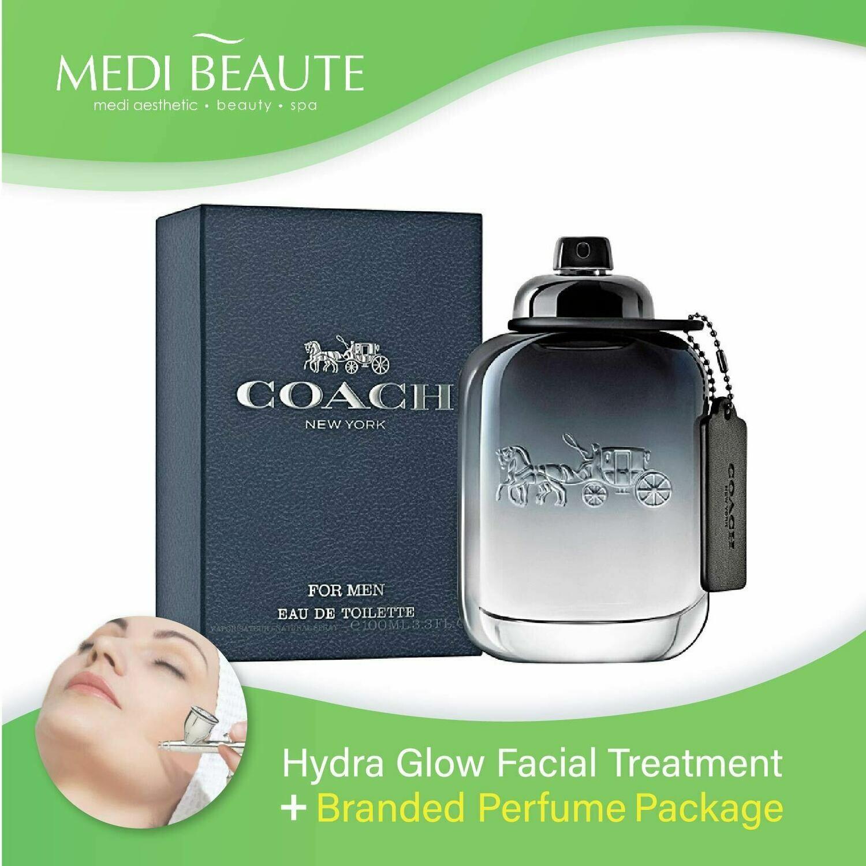 Medi Beaute Hydra Glow Facial + Branded Perfume ( Coach Men EDT 100ml) Package