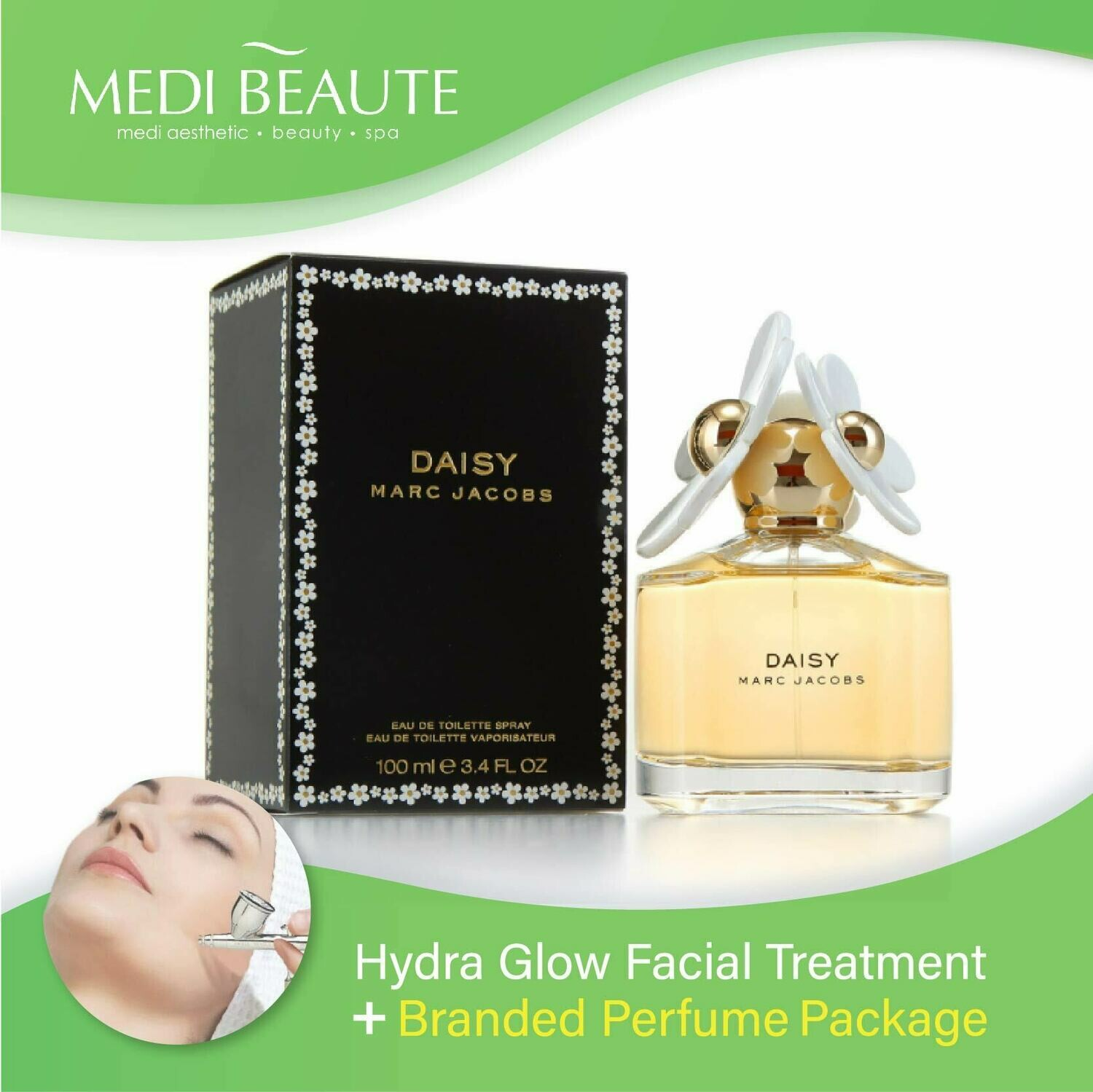 Medi Beaute Hydra Glow Facial + Branded Perfume ( Marc Jacobs Daisy EDT Lady 100ml ) Package
