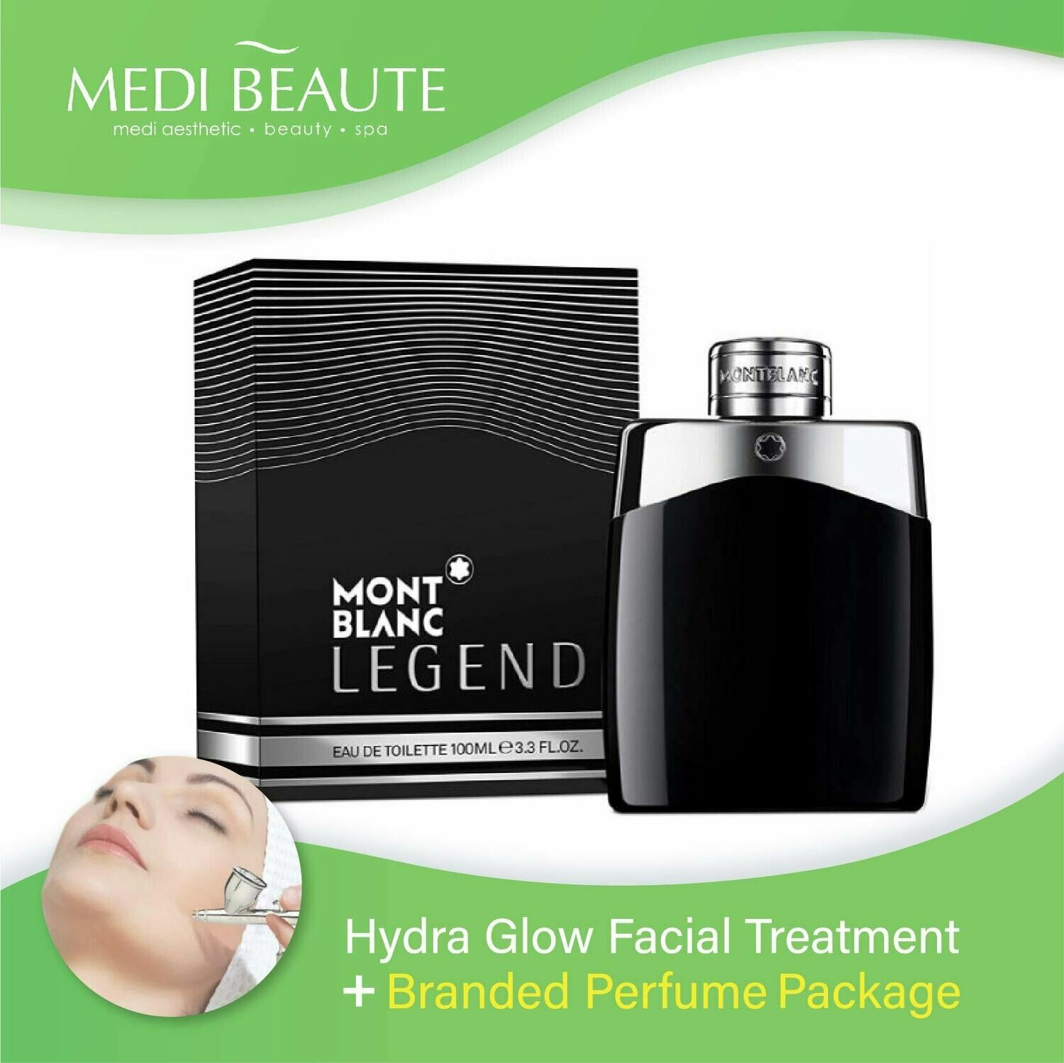 Medi Beaute Hydra Glow Facial + Branded Perfume ( Mont Blanc Legend EDT Men 100ml ) Package