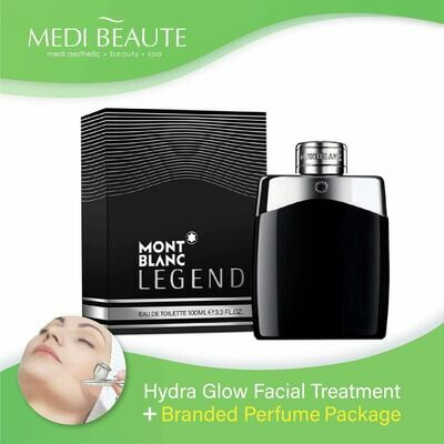 Medi Beaute Hydra Glow Facial + Branded Perfume ( Mont Blanc Legend EDT Men 100ml ) Package