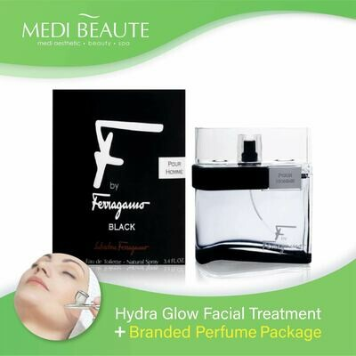 Medi Beaute Hydra Glow Facial + Branded Perfume ( Salvatore Ferragamo F by Ferragamo Black Pour Homme EDT Men 100ml ) Package