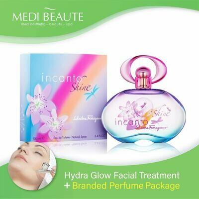 Medi Beaute Hydra Glow Facial + Branded Perfume ( Salvatore Ferragamo Incanto Shine EDT Lady 100ml ) Package