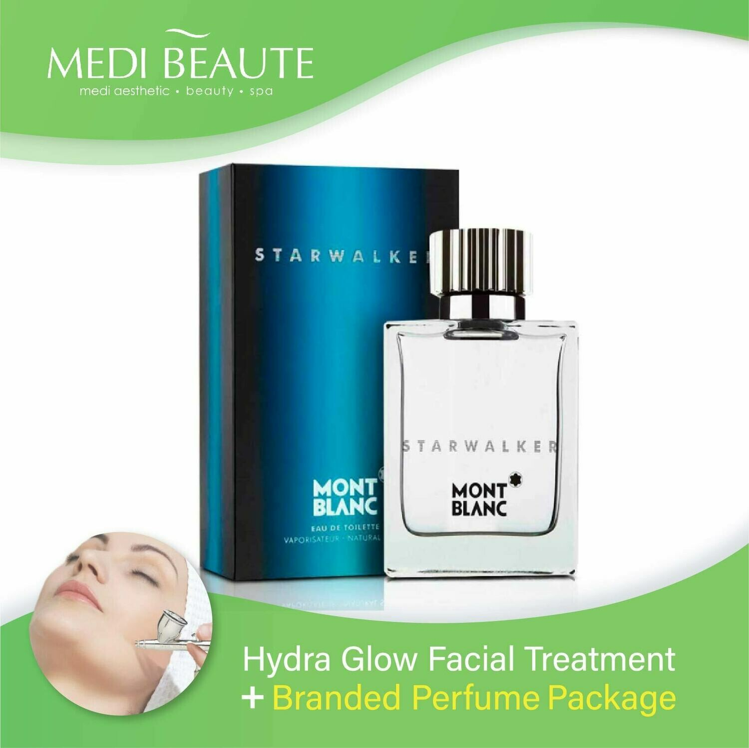 Medi Beaute Hydra Glow Facial + Branded Perfume ( Mont Blanc Starwalker EDT Men 75ml ) Package