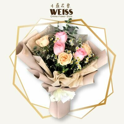 Weiss Florist 6stk mixed colour roses (Free Shipping! Only deliver in JB)