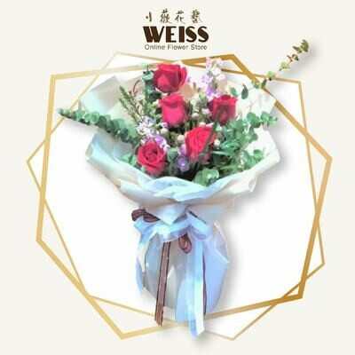 Weiss Florist 5stk red roses  (Free Shipping! Only deliver in JB)