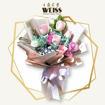 Weiss Florist 6stk pink roses (Free Shipping! Only deliver in JB)