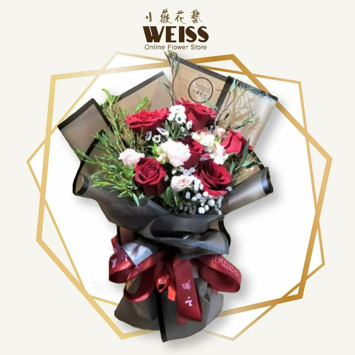 Weiss Florist 6stk red roses (Free Shipping! Only deliver in JB)