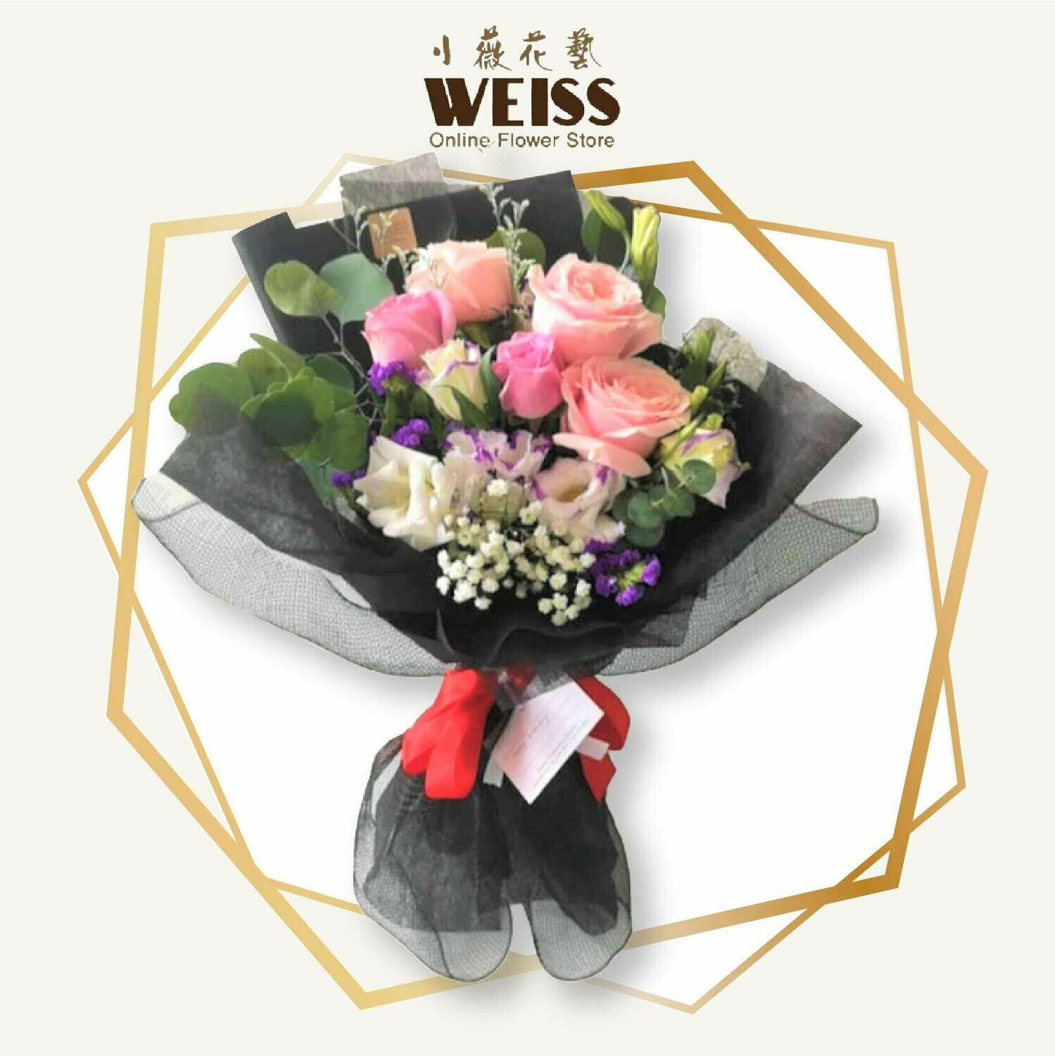 Weiss Florist 5stk mixed colour roses (Free Shipping! Only deliver in JB)