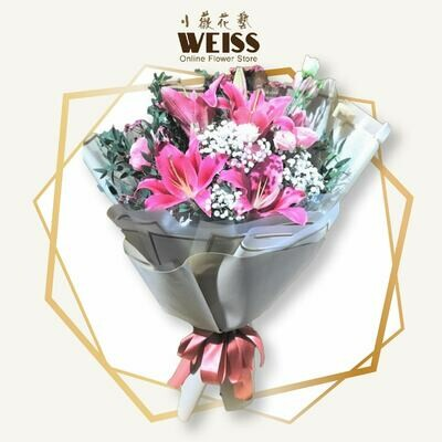Weiss Florist 5stk pink lilies (Free Shipping! Only deliver in JB)