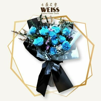 Weiss Florist 10stk blue roses (Free Shipping! Only deliver in JB)