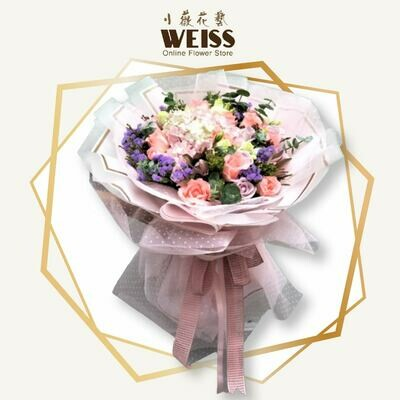 Weiss Florist 18stk roses mixed hydrangea (Free Shipping! Only deliver in JB)