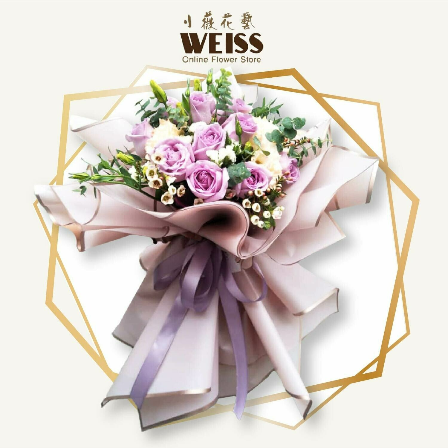 Weiss Florist 12stk purple roses (Free Shipping! Only deliver in JB)
