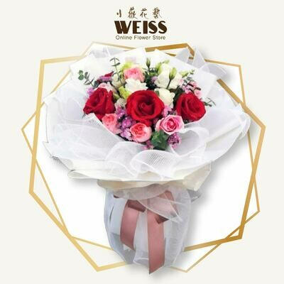Weiss Florist 12stk mixed colour roses (Free Shipping! Only deliver in JB)