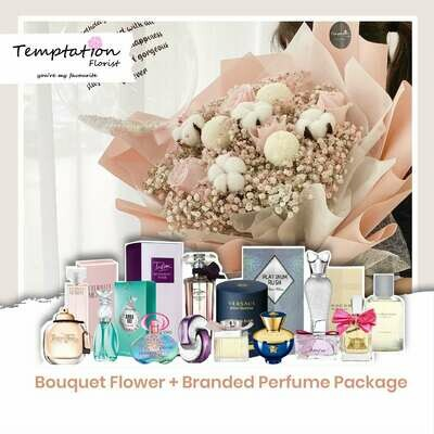 Temptation Florist Snowie Bouquet+ Branded Perfume Package (Free Shipping! Only Deliver in Seremban)