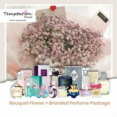 Temptation Florist Purple Pops Bouquet+ Branded Perfume Package (Free Shipping! Only Deliver in Seremban)