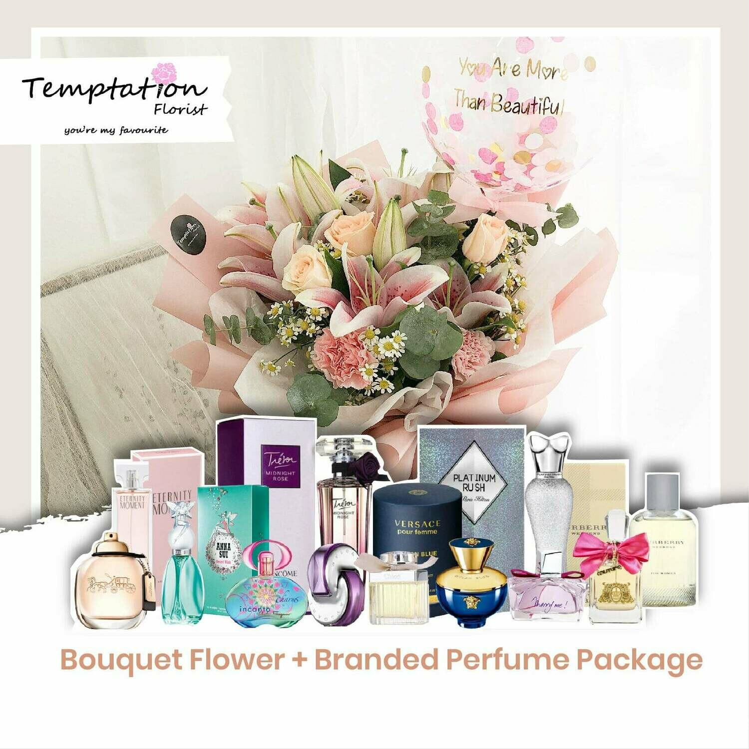 Temptation Florist Sherlyn Bouquet+ Branded Perfume Package (Free Shipping! Only Deliver in Seremban)