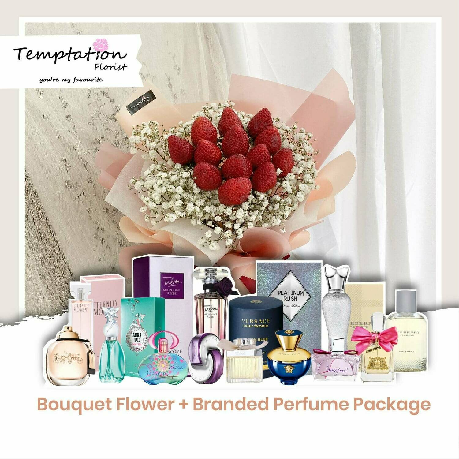 Temptation Florist Sweet Desire Bouquet+ Branded Perfume Package (Free Shipping! Only Deliver in Seremban)