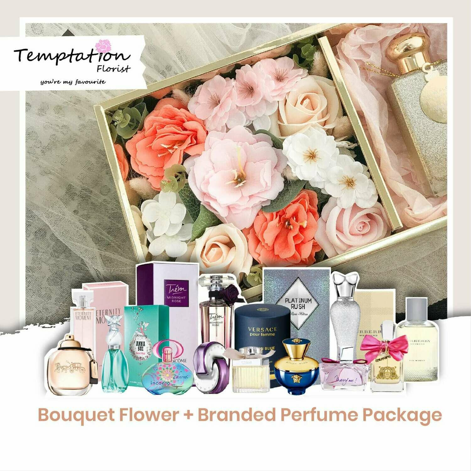 Temptation Florist Catre Flower Box + Branded Perfume Package (Free Shipping! Only Deliver in Seremban)