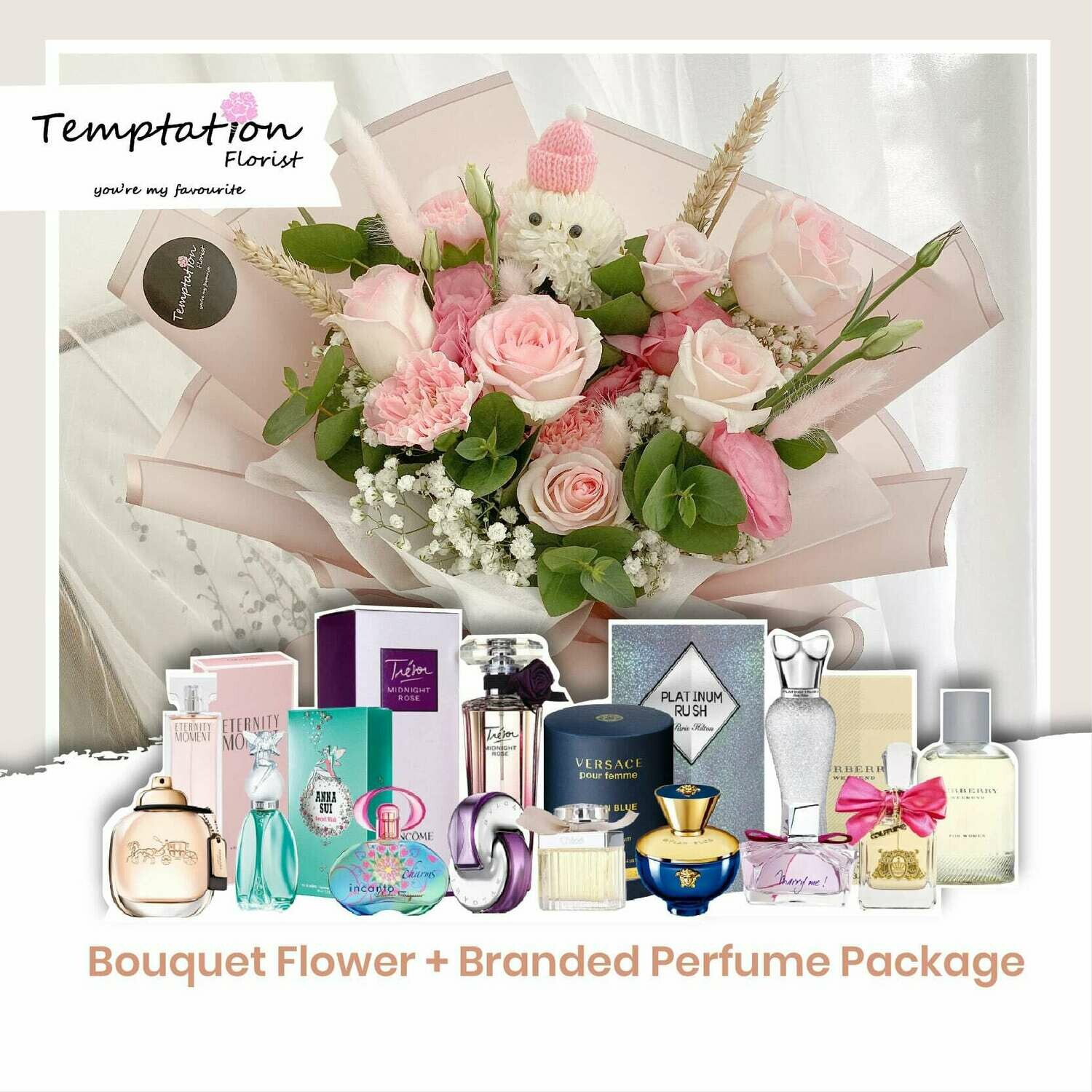 Temptation Florist Katie Bouquet + Branded Perfume Package (Free Shipping! Only Deliver in Seremban)