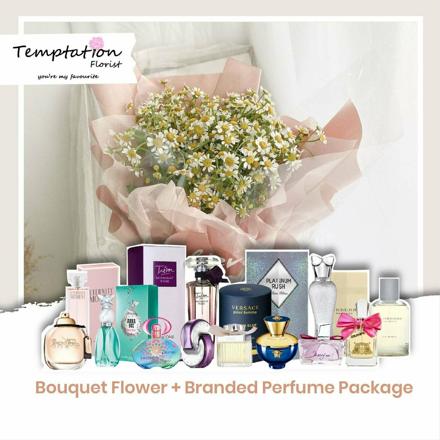 Temptation Florist Be Great Bouquet + Branded Perfume Package (Free Shipping! Only Deliver in Seremban)