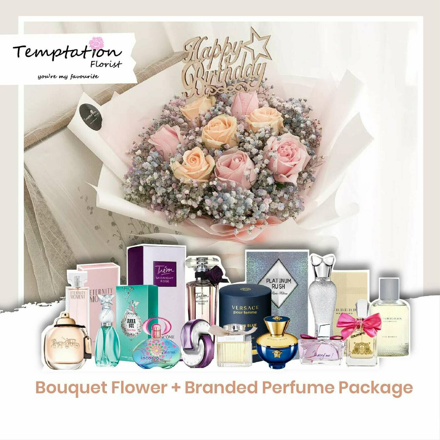Temptation Florist Sweetheart Bouquet + Branded Perfume Package (Free Shipping! Only Deliver in Seremban)