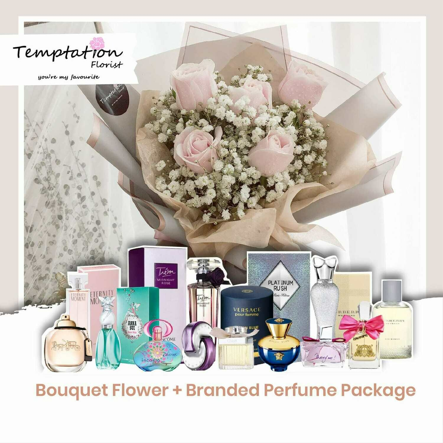 Temptation Florist Miya Bouquet + Branded Perfume Package (Free Shipping! Only Deliver in Seremban)
