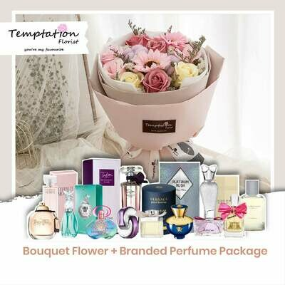Temptation Florist Russia Floralife (Soap Flowers) Bouquet + Branded Perfume Package (Free Shipping! Only Deliver in Seremban)