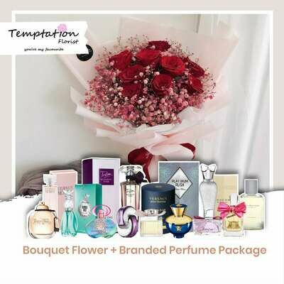 Temptation Florist Sonia Bouquet + Branded Perfume Package (Free Shipping! Only Deliver in Seremban)