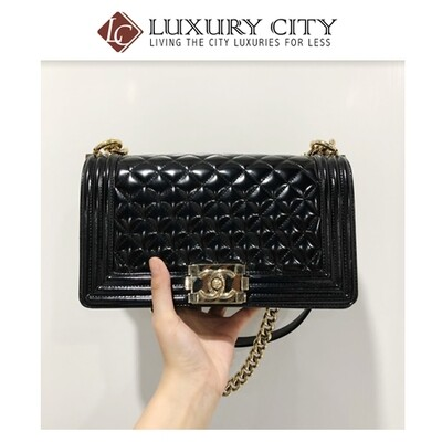 [Luxury City] Pre-Loved Chanel Leboy Medium Size,Black Patent Leather