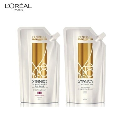Loreal Professional Xtenso Oleoshape Oil Trio Smoothing Rebonding Cream for Resistant Hair (R) 400ml with Neutraliser