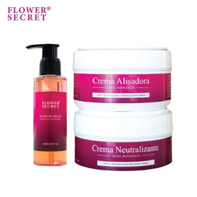Flower Secret Limited Holiday Set (Straightening Cream Set (150ml x 2) + Argan Oil Hair Serum 150ml)