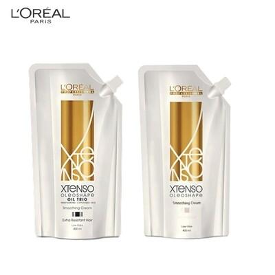 Loreal Professional Xtenso Oleoshape Oil Trio Smoothing Rebonding Cream for Extra Resistant Hair (EX) 400ml with Neutraliser