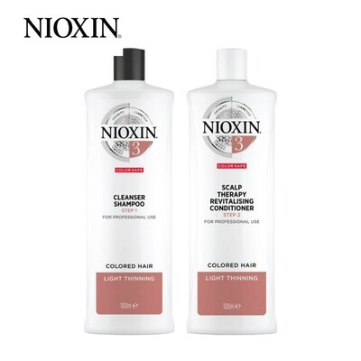 Nioxin System 3 Cleanser Shampoo 1000ml + Conditioner 1000ml Duo