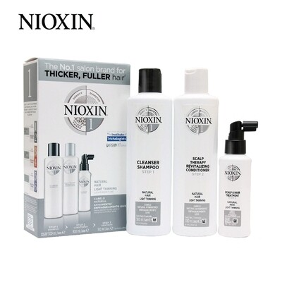 Nioxin System 1 Super Value Trial Kit including Shampoo 300ml Conditioner 300ml Treatment 100ml