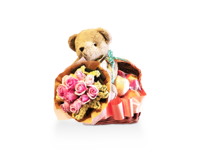 Fruits Flowers Gift Basket (By: Weiss Flora & Gift From JB)