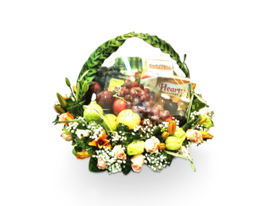 Fruits & Flowers Basket (By: Weiss Flora & Gift From JB)