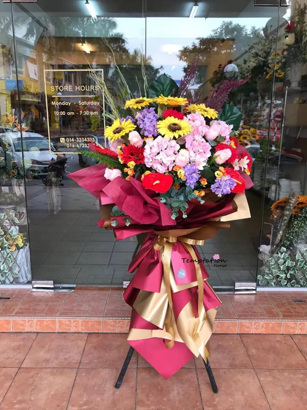 Prosperity Go On Opening Flower Stand (By: Temptation Florist from Seremban)