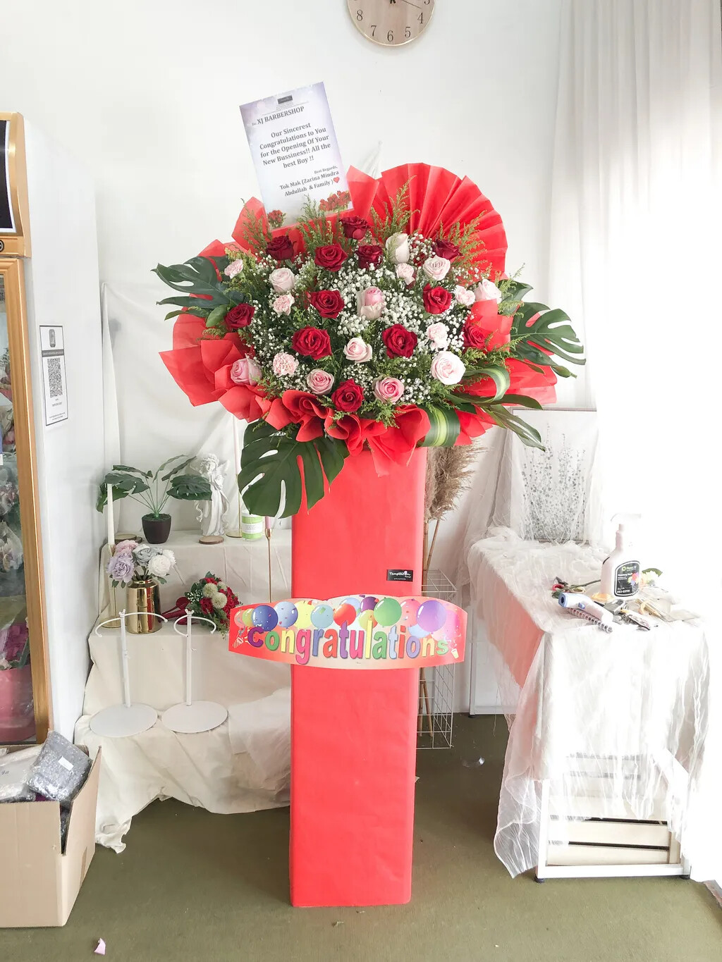 Rosy Grand Opening Flower Stand (By: Temptation Florist from Seremban)