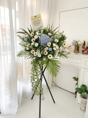 Blue Wing Condolence Flower Stand (By: Temptation Florist from Seremban)