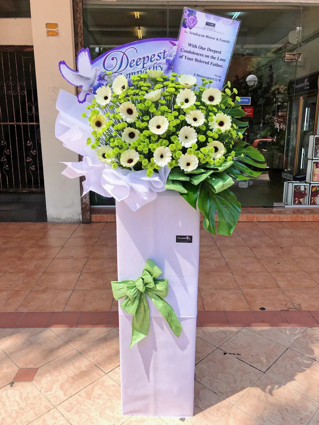 Deepest Sympathy Condolence Flower Stand (By: Temptation Florist from Seremban)