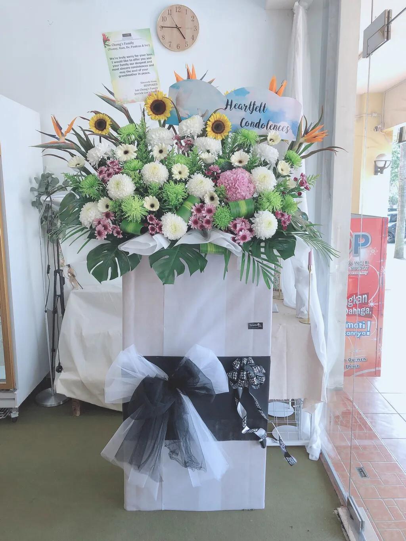 Inspriring Memory Condolence Flower Stand (By: Temptation Florist from Seremban)
