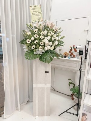 The White Condolence Flower Stand (By: Temptation Florist from Seremban)