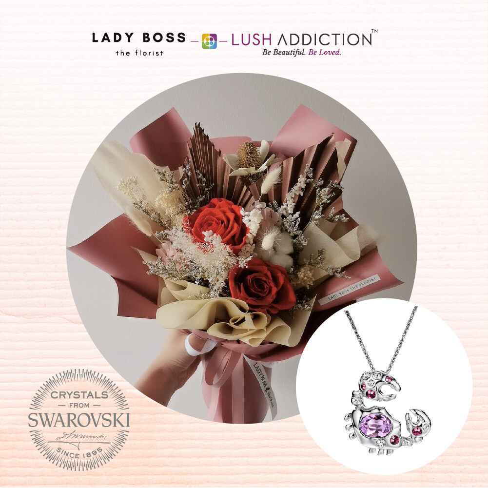 Preserved Dry Bouquet + Lush Cancer Horoscope Necklace Bundle Deal (By: Lady Boss the Florist from JB)