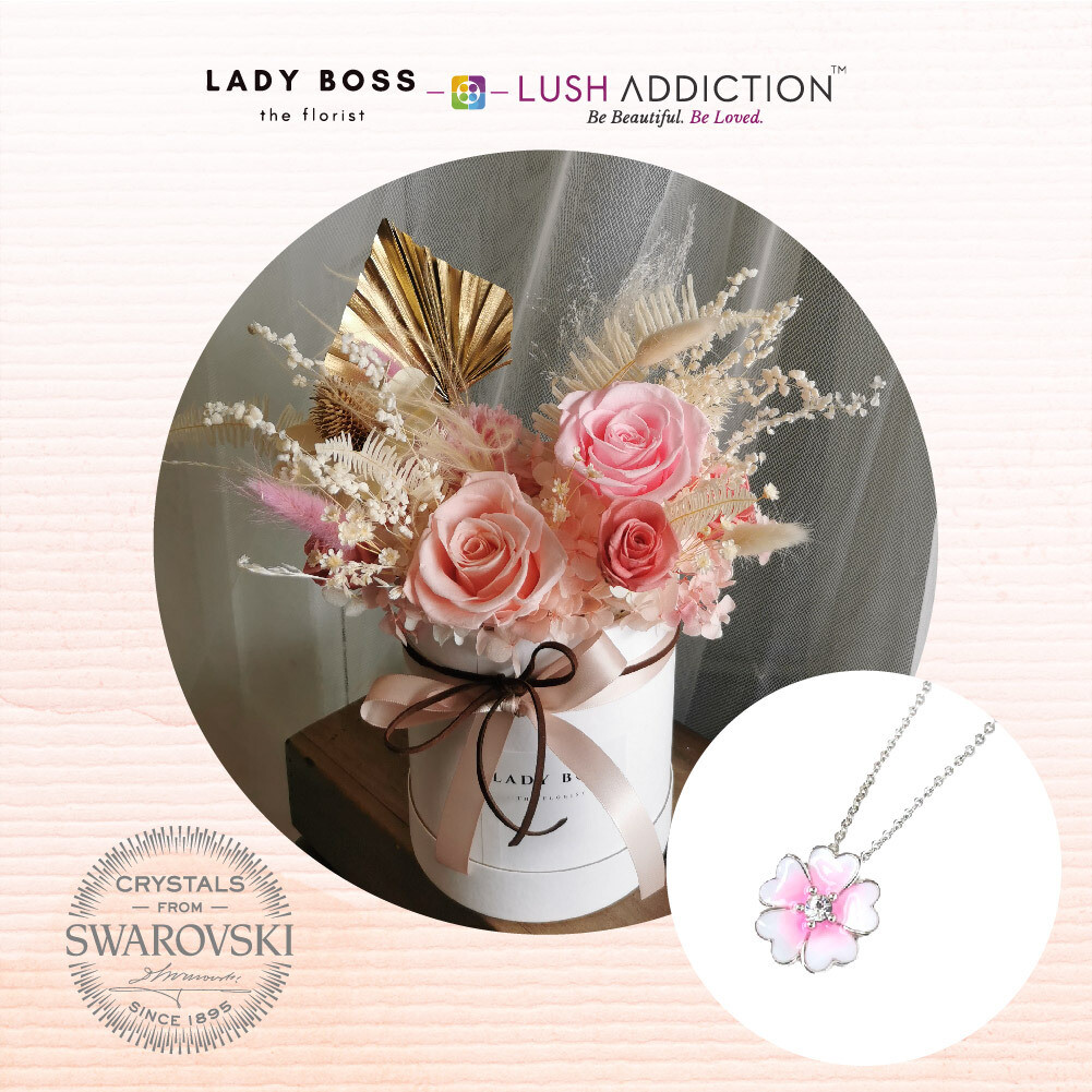 Mini Preserved Dry Bouquet + Lush Primrose Necklace Bundle Deal (By: Lady Boss the Florist from JB)