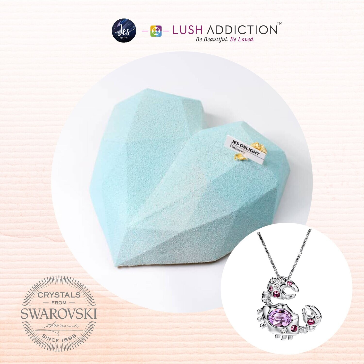 Blue Diamond Cake + Lush Cancer Horoscope Necklace Bundle Deal (By: JES Delight from JB)