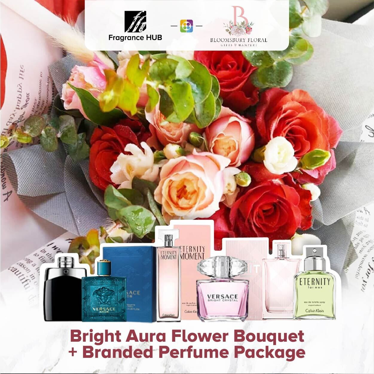 Bright Aura Flower Bouquet + Fragrance Hub Branded Perfume (By: Bloomsbury from Puchong)