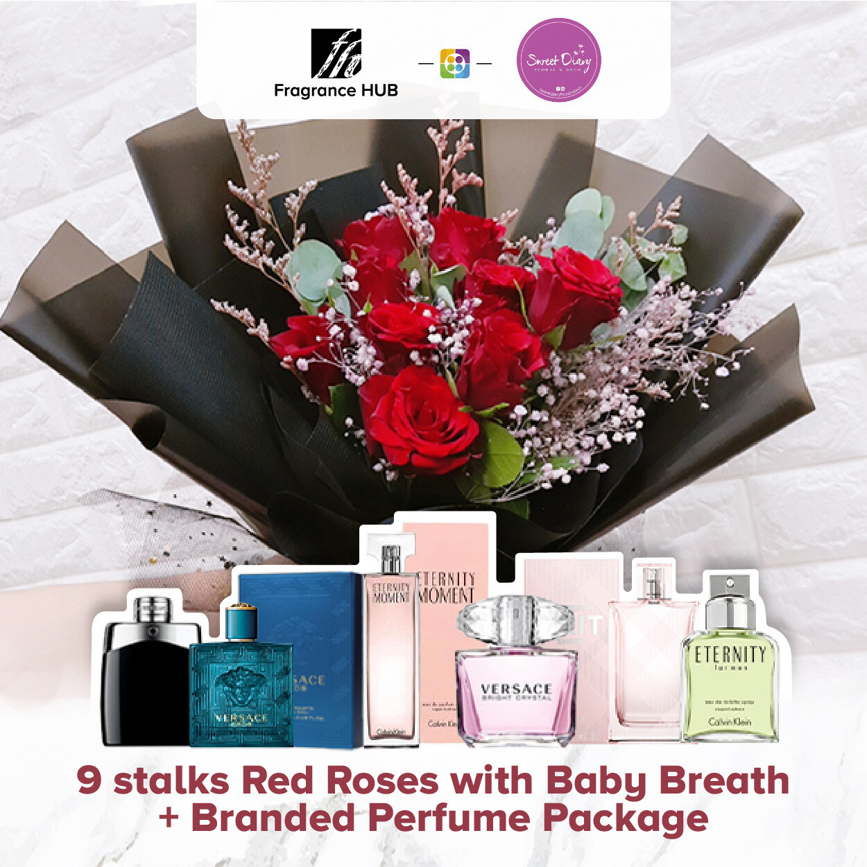 9 stalks Red Roses with Baby Breath + Fragrance Hub Branded Perfume (By: Sweet Dairy from Puchong)